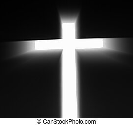 Religious Cross - White Cross with Black Background