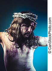 religious, Easter jesus christ, son of god representation with crown of thorns and wounds of Calvary skin