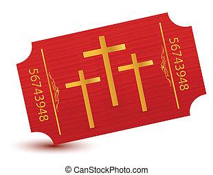 Religious event ticket illustration