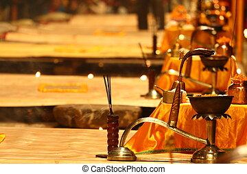 Religious Ganga Aarti ritual in Varanasi, India.