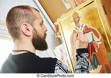 religious icon painting process - Religious icon painter man...