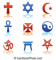 Religious icons - Ten religious symbols in two different...