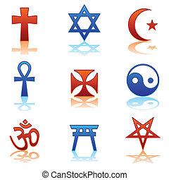 Religious icons - Ten religious symbols in two different...