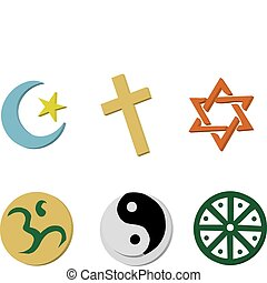 Religious Icons - Vector Illustration of 6 religious icons ...