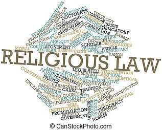 Religious law - Abstract word cloud for Religious law with...