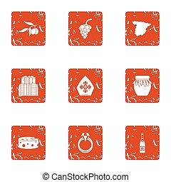 Religious life icons set, grunge style - Religious life...