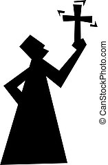 religious man - icon silhouette of a man maybe a priest...