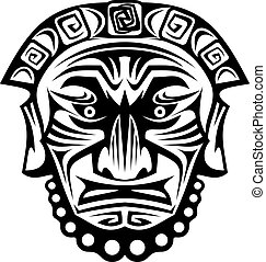 Religious mask - Ancient tribal religious mask isolated on...