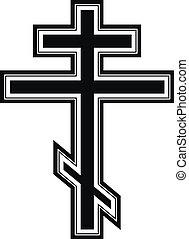 Religious orthodox cross icon on white background. Vector...