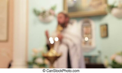 Religious ritual - The priest reads the prayer. Part of the...