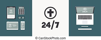 Religious services 24/7 - Vector web icon
