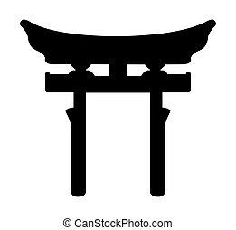 Religious Shinto Torri sign isolated on a white background.