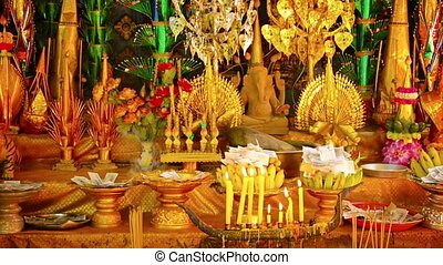 Religious Shrine in Cambodia with Offerings - FullHD video -...