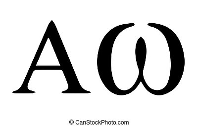 Religious sign. Christianity. Alpha and Omega, the first and...