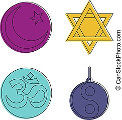 Religious sign icon set, color outline style - Religious...