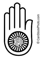 Religious sign. Jainism. Symbol of Ahimsa. Vector Format.