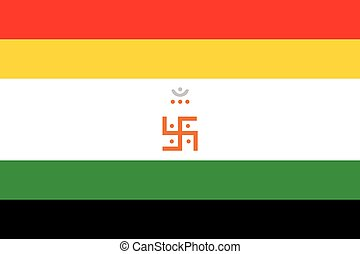 Religious sign. Jainism. The Jain Flag. Vector Format.