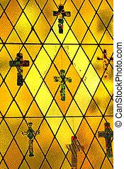 Religious stained glass. - Religious stained glass window in...