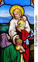 Religious stained glass window - stained glass window in...
