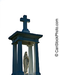 Isolated religious statue and cross, done on white