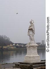 Statue of St. John Nepomuk in Aschach on danube - Austria
