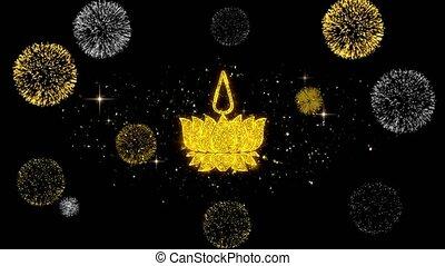 Religious symbol Ayyavazhi symbolism Icon on Glitter Golden Particles Effect Firework. Object, Shape, Text, Design, Element, symbol 4K Animation.