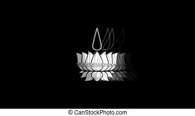 Religious symbol Ayyavazhi symbolism Icon Old Vintage Twitched Bad Signal Screen Effect 4K Animation. Twitch, Noise, Glitch Loop with Alpha Channel.