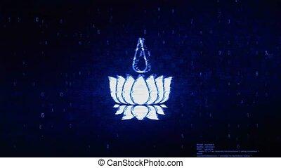 Religious symbol Ayyavazhi symbolism Symbol Abstract Digital Pixel Noise Glitch Error Video Damage Signal Loop 4K Animation.