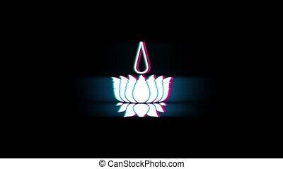 Religious symbol Ayyavazhi symbolism Symbol on Glitch Led Screen Retro Vintage Display Animation 4K Animation Seamless Loop Alpha Channel.