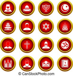 Religious symbol icon red circle set isolated on white...