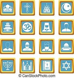 Religious symbol icons azure - Religious symbol icons set in...