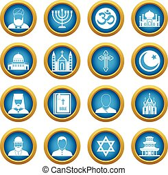 Religious symbol icons blue circle set isolated on white for...