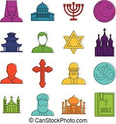 Religious symbol icons doodle set - Religious symbol icons...