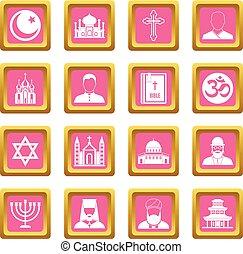 Religious symbol icons pink - Religious symbol icons set in...