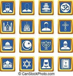 Religious symbol icons set blue - Religious symbol icons set...