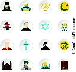 Religious symbol icons set, flat style