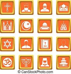 Religious symbol icons set orange - Religious symbol icons...