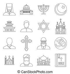 Religious symbol icons set, outline style