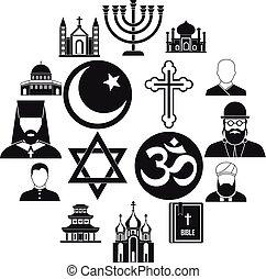 Religious symbol icons set, simple style - Religious symbol...