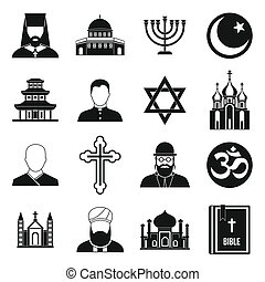 Religious symbol icons set, simple style