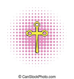 Religious symbol of crucifix icon, comics style