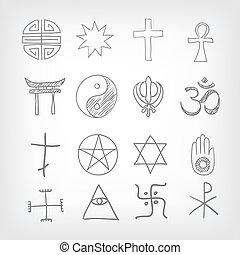 Religious symbolism. Grey Gradient Background. Vector...