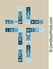 religious symbols cross for boys on white