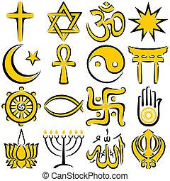 Religious Symbols - Set of 16 religious symbols, executed in...