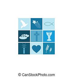 religious symbols on white