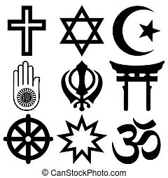 Religious symbols from the top nine organised faiths of the...