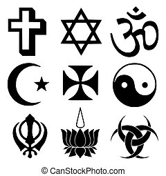 Religious symbols from the top organised faiths of the world according to Major world religions.