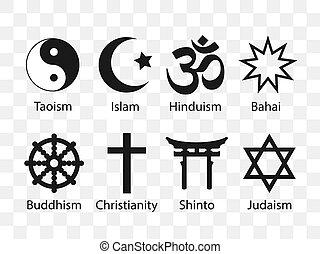 Vector illustration, flat design. Religious symbols icon set
