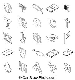Religious symbols icons set, isometric 3d style