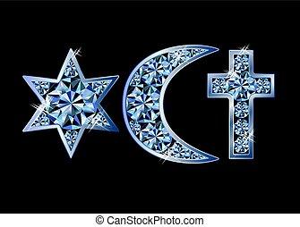 Religious symbols jewish David's star, islamic crescent, christian cross. vector illustration